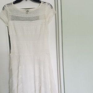 White Lace and Ruffle Dress